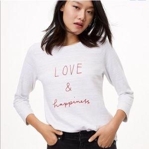 LOFT 'Love & Happiness' Striped Top